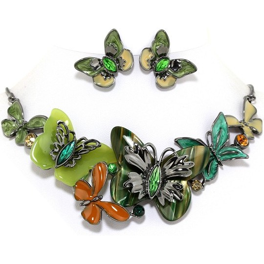 "18"" Necklace Earring Set Butterfly Multi Color Green Gray FNE202"