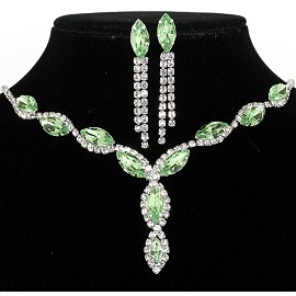 Rhinestone Necklace Earring Set Silver Light Green FNE205