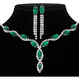 Rhinestone Necklace Earring Set Silver Green FNE207