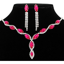Rhinestone Necklace Earring Set Silver Magenta FNE213