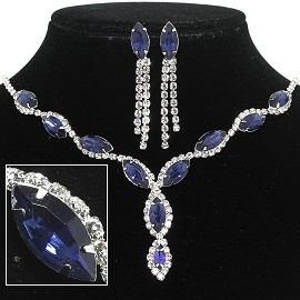 Bead Crystal Necklace Earring Rhinestone Magnetic Clasp FNE225