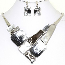 Necklace Earring Set Rectangle Metallic Silver Tone FNE228