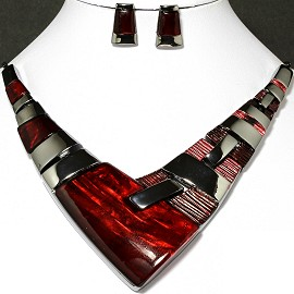 Necklace Earring Set Arrow Rectangle Gray Red FNE235