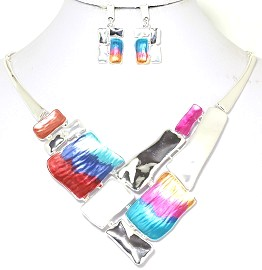 Necklace Earring Set Rectangle Multi Color Silver Tone FNE238