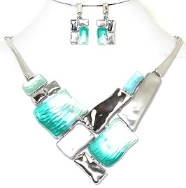 Necklace Earring Set Rectangle Turquoise Silver Tone FNE239