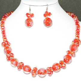 "18"" Crystal Glass Necklace Earring Set Rose Red FNE240"