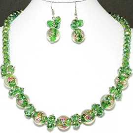 "18"" Crystal Glass Necklace Earring Set Rose Green Aura FNE243"