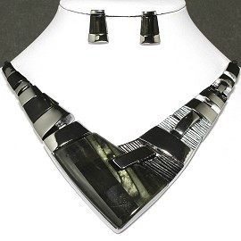 Necklace Earring Set Arrow Rectangle Gray Black FNE244