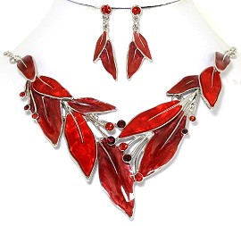 Necklace Earring Set Rhinestones Leaf Leaves Red FNE245