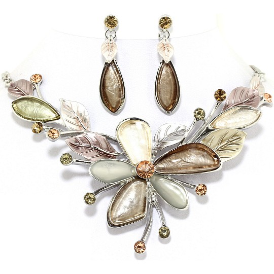 "18"" Necklace Earring Set Flower Multi Color Silver Brown FNE246"