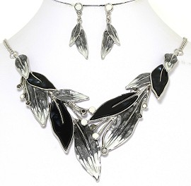 Necklace Earring Set Rhinestones Leaf Leaves Gray Black FNE250