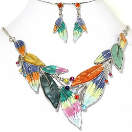 Necklace Earring Set Rhinestones Leaf Leaves Multi Color FNE251