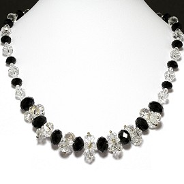 Crystal Necklace Black Clear FNE255