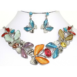 Necklace Earring Set Butterfly Silver Tone Multi Color FNE259