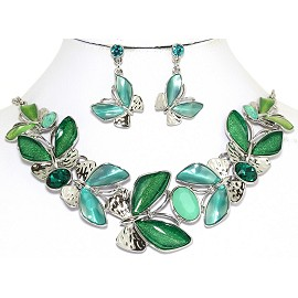 Necklace Earring Set Butterfly Silver Green Turquoise FNE260