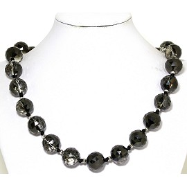 Necklace Crystal Cut Ball Beads Clear Black FNE265