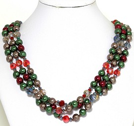 Necklace Bead 3 Strand Multi Color Green Red Bronze FNE267
