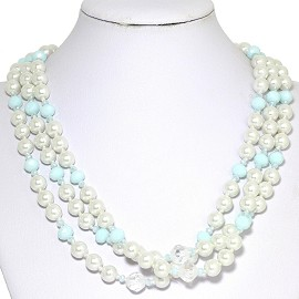 Necklace Bead 3 Strand White Light Turquoise FNE270