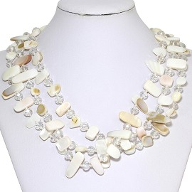 Necklace 3 Strand Crystal Rectangle Seashell White Tan FNE271