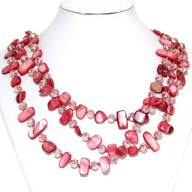 Necklace 3 Strand Crystal Rectangle Seashell Red FNE273