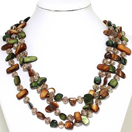 Necklace 3 Strand Crystal Rectangle Seashell Brown Green FNE276