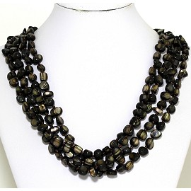 Necklace 4 Strand Shiny Smooth Stone Beads Dark Brown FNE278