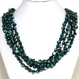 Necklace 4 Strand Shiny Smooth Stone Beads Forest Green FNE288