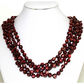 Necklace 4 Strand Shiny Smooth Stone Beads Dark Red FNE291