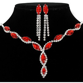 Rhinestone Necklace Earring Set Silver Red FNE293