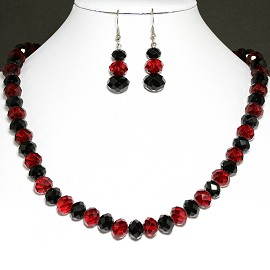 10mm Crystal Set Necklace + Earrings Red Black FNE297