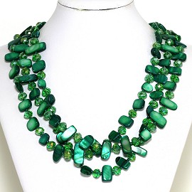 Necklace 3 Strand Crystal Rectangle Seashell Green FNE298