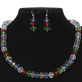 10mm Crystal Set Necklace + Earrings Multi-Color FNE299