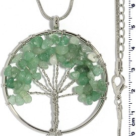 Tree Of Life Stone Pendant Necklace Silver Jade Green FNE305