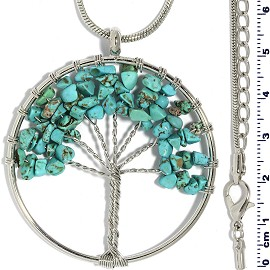 Tree Of Life Stone Pendant Necklace Silver Teal Turquoise FNE308