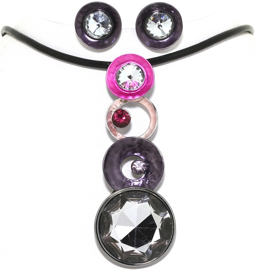 "19"" Necklace Earring Set Circle Disc Line Black Purple FNE323"