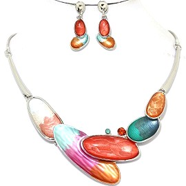 Necklace Earring Set Long Oval Multi Color Silver Tone FNE326