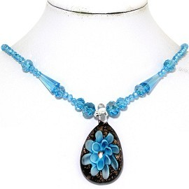 Glass Pendant Crystal Necklace Flower Oval Turquoise BK FNE330