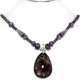 Glass Pendant Crystal Necklace Flower Oval Purple Black FNE333