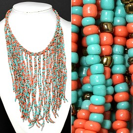 Seed Beads Necklace Turquoise Peach Gold FNE336