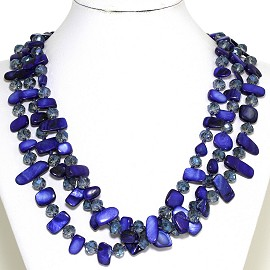 Necklace 3 Strand Crystal Rectangle Seashell Blue FNE340