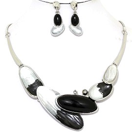 Necklace Earring Set Long Oval Black Silver Tone FNE345