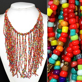 Seed Beads Necklace Multi FNE349