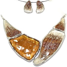 Necklace Earring Set Odd Shape Brown Silver Tone FNE351