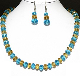 10mm Crystal Set Necklace + Earrings Aqua Yellow FNE352