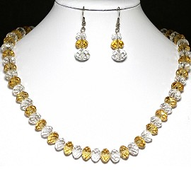 10mm Crystal Set Necklace + Earrings Clear Yellow FNE354