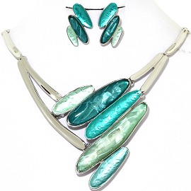 Necklace Earring Set Line Oval Turquoise Silver Tone FNE359