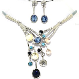 Necklace Earring Set Dangle Rhinestones Silver Tone Blue FNE362