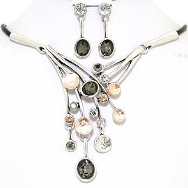 Necklace Earring Set Dangle Rhinestones Silver Tone Gray FNE363