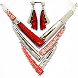 Necklace Earring Set Lines Silver Tone Red FNE367