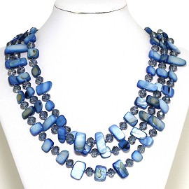 Necklace 3 Strand Crystal Rectangle Seashell Light Blue FNE368